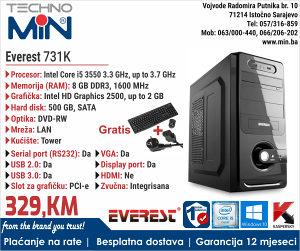 Everest 731K, Tower, i5 Quad 3.3/8/500/DVD-RW