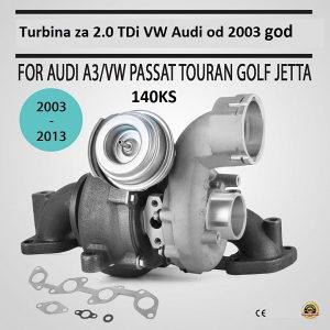 VW Audi  2.0 TDI 140KS Turbina Passat, A3,  Golf 5