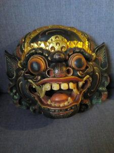 Skulptura maska kineskog zmaja,drvo,40x35x20cm