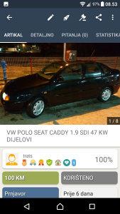 POLO CLASIC CADDY SEAT DIJELOVI 1.9 SDI 47 KW 99 GOD