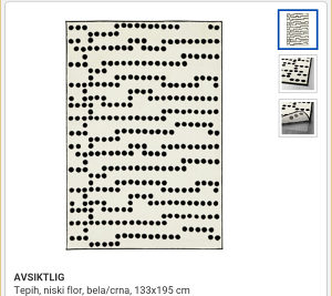 Tepih crno bijeli Ikea 195*133 cm