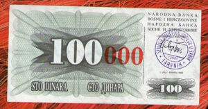 Novcanica BiH s pečatom Travnik