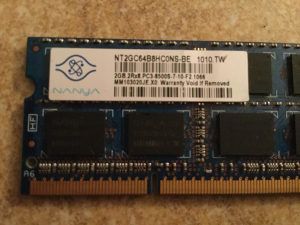 DDR3 2 x 2GB laptop