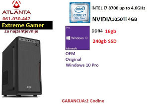 I7 8700 16GB 1050Ti 240GB SSD gamer pc Novo!!!