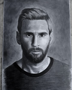 Messi A4 deblji papir, grafitna olovka