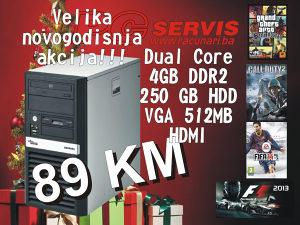 Racunar dual core,DDR2 4gb, HDD 250GB, VGA 512MB HDMI