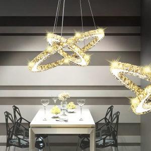 Viseća LED Kristalna Svjetiljka s 2 Prstena 23,6 W