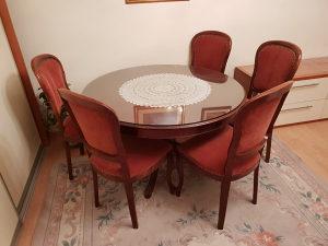 Terpezarijski stol sa 6 stolica