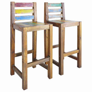 Barske stolice od obnovljenog brodskog drva 2 kom