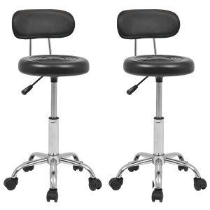 Okretna salonska stolica 2 kom od umjetne kože crna