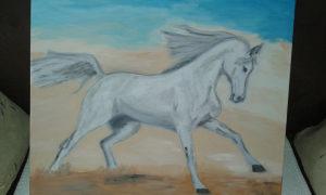 Bijeli Konj  araber umjetnička slika