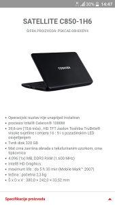 Laptop Toshiba satellite c850