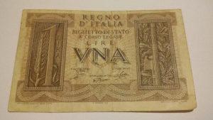 Novčanice Italija 1 LIRA 1939. RIJETKO
