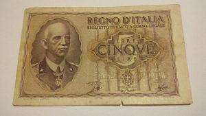Novcanice 5 LIRA Italija 1940. SPECIJALNO