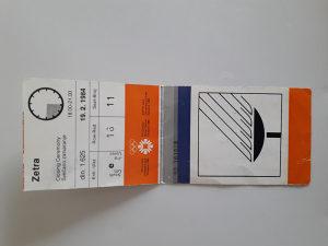Olimpijska ulaznica Sarajevo 1984 ceremonija zatvaranja