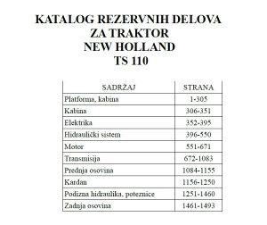 New Holland TS 110 - Katalog dijelova