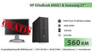 "Računar HP800G1/i5-4670/4GB/500GB - GRATIS Monitor 21"""