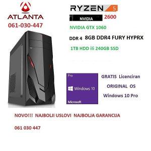 Ryzen 5 2600/8GB DDR4/gtx 1060/1TB HDD gamer pc amd