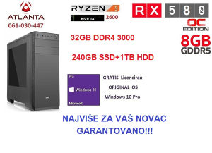 Računar Ryzen 5 2600-32GB DDR4-RX 580 8GB-240SSD 1TB