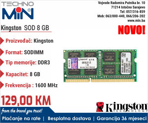 Kingston SODIMM 8 GB DDR3 1600 MHz