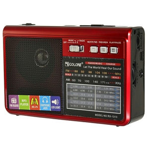 GOLON Portable Radio AM/FM/SW 1-6 Model:RX1313Red/Bes.D