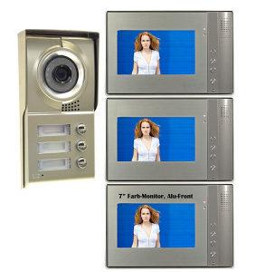 Interfon Video , zvono, za 3 Stana 3x 4,3 inča LCD