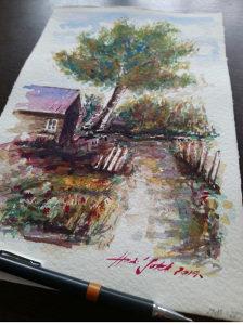 Umjetnička slika. Slika. Akvarel.