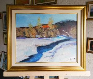 """Umjetnička slika """"Snježni pejzaž i rijeka"""""""