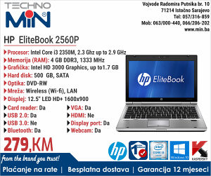 HP EliteBook 2560P, i3 2gen, 2.3/4/500/DVD/CAM