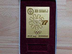 PLAKETA- XII SIMIJ-IMR 1977 G. -OLIMPIJADA