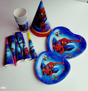 Spajdermen set: Tanjiri, čaše, kape i pištaljke