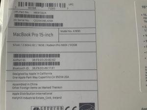 Macbook Pro 15, i7, 16GB, 512GB (2018)