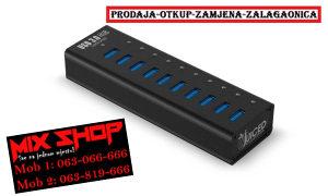 USB HUB 3.0 10 Port Ulaza Punjač/Razdjelnik/Adapter