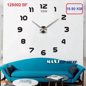 AKCIJA 3D Zidni dekorativni sat 12S002- BLACK