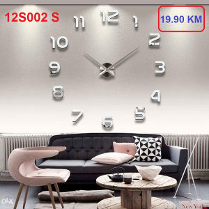 3D ZIDNI SAT dekorativni 12S002- SILVER