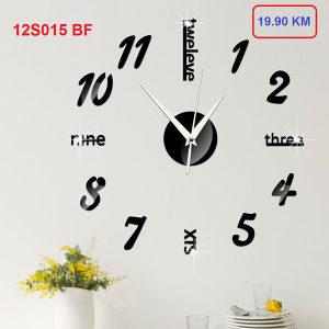 AKCIJA 3D Zidni dekorativni sat 12S015- BLACK