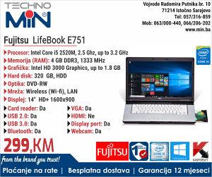 """Fujitsu LifeBook E751 15.6"""", i5 2 gen, 2.5/4/320/DVD-RW"""