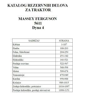 Massey Ferguson 5611 Dyna 4 - Katalog dijelova