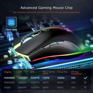 PICTEK 10000 DPI LED RGB Gaming mis NOVI model - Kompjuteri - Miševi