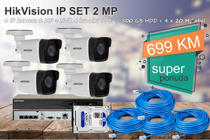 HikVision set 4 kamere IP 2 MP KOMPLET
