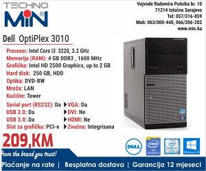 Dell OptiPlex 3010,i3 3220, 3 gen, 3.2/4/250/RW/Tower