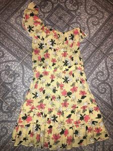 Zenska zuta haljina sa volanima