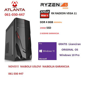 Ryzen 5 3400G, Vega 11, DDR4 8GB 3000MHz, računar gamer