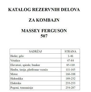 Massey Ferguson 507 kombajn - Katalog dijelova