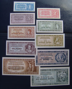 YU - Lot - dinari - 1950 - UNC - replika - komplet