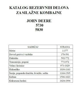 John Deere 5730-5830 silažni komb. - Katalog dijelova