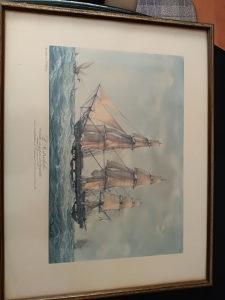 Umjetničke slike 4 kom brodovi litografija