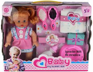 Lutka set beba na baterije sa pelenom flašicom tutom