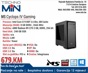 MS Cyclops IV Gaming, i3 9100F 3.6/8/240SSD/Tower