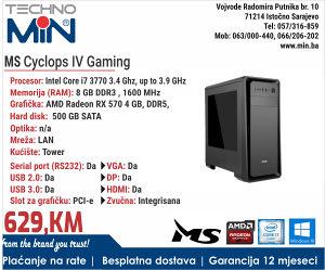 MS Cyclops IV Gaming, i7 3770 3.4/8/500/Tower